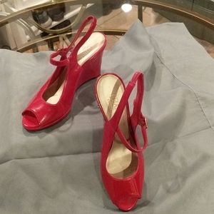 Red Chaps Wedge Sandal